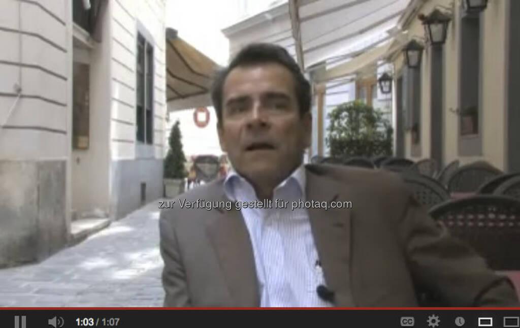 Gottfried Satek, Ex-WirtschaftsBlatt-Kollege der finanzmarktfoto.at-Macher, hat was auf Youtube zu sagen. Alt, aber gut. Gilt für das Video (und den Speaker) http://www.youtube.com/watch?v=EIQKMJI9itY (31.01.2013)