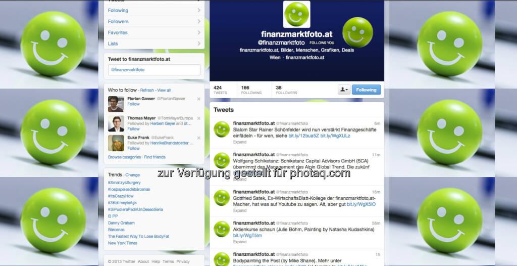 https://twitter.com/finanzmarktfoto - und auch der RSS-Feed dieser Site hier darf im Eigeninteresse empfohlen werden - Follow us (31.01.2013)