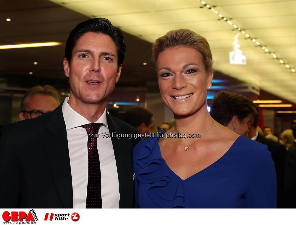 Marcus Hoefl and Maria Hoefl-Riesch, Lotterien Gala Nacht des Sports, Photo: Gepa pictures/ Hans Oberlaender, ©  Gepa pictures/ Michael Riedler (31.10.2014)