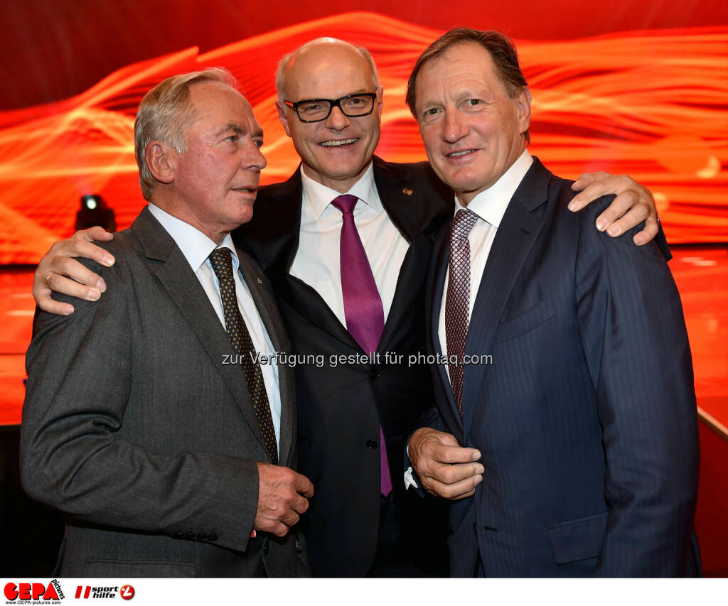 Karl Schranz, Karl Stoss (Oesterreichische Lotterien) und Franz Klammer. Photo: GEPA pictures/ Michael Riedler, ©  Gepa pictures/ Michael Riedler (31.10.2014)