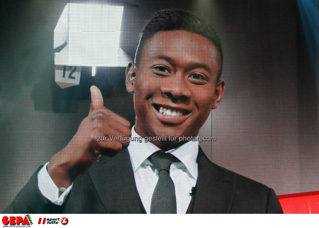 David Alaba (FC Bayern Muenchen) video wall. Photo: GEPA pictures/ Christian Walgram, ©  Gepa pictures/ Michael Riedler (31.10.2014)