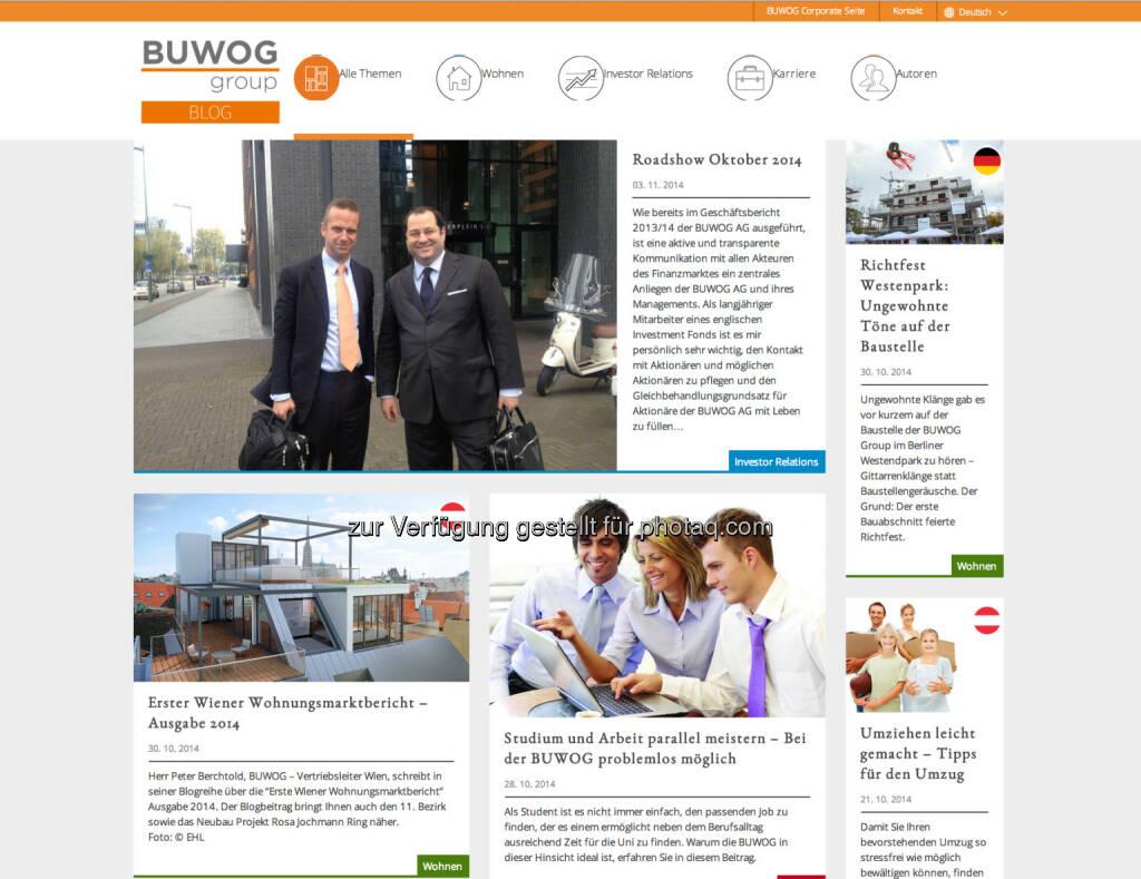 Die Buwog Group hat ihren Corporate Blog unter http://blog.buwog.com/ gestartet und erweitert damit ihr Kommunikationsangebot. Von der 1. ordentlichen Hauptversammlung wurde bereits live gebloggt. Auch ein Bericht über eine aktuelle Investoren-Roadshow der BUWOG AG in London, Amsterdam und Paris ist bereits online., © Aussender (04.11.2014)
