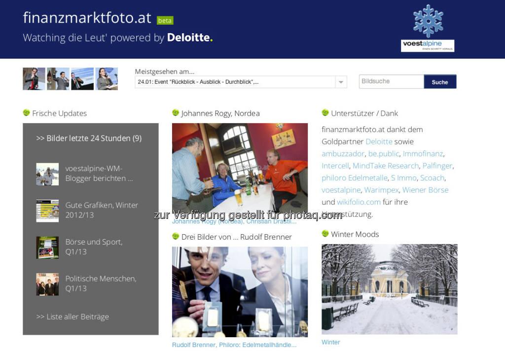 finanzmarktfoto.at: Während der alpinen Ski WM ziert das Logo des voestalpine-WM-Blogs die Site, verlinkt auf http://www.voestalpine.com/wmblog/, &copy; <a href=