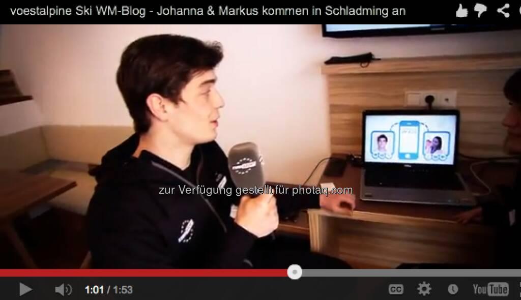 Markus Kerschbamer zeigt seine Arbeitsstätte im Rahmen der alpinen Ski-WM, Video: http://voestalpine-wm-blog.at/2013/02/04/das-blogger-appartement-und-die-erste-pressekonferenz/#.UQ--l47aK_Q, &copy; <a href=