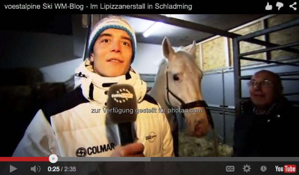 Wir waren bei den heimlichen Stars der Eröffnungsfeier im Stall, den Lipizzanern. Interviewt wurden neben der Regisseurin der Inszenierung auch der Reiter des Hengstes. http://voestalpine-wm-blog.at/2013/02/05/voestalpine-ski-wm-blog-im-lipizzanerstall-in-schladming/#.URDhdo7aK_Q, &copy; <a href=