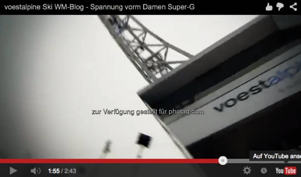 Video vor dem Damen Super G http://voestalpine-wm-blog.at/2013/02/05/voestalpine-ski-wm-blog-spannung-vorm-damen-super-g/#.UREkio7aK_Q, &copy; <a href=