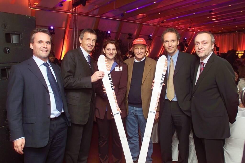 Axel Mader, Martin Bartenstein, Bettina Pfluger, Niki Lauda, Christian Drastil, Rudolf Fischer (17.11.2014)