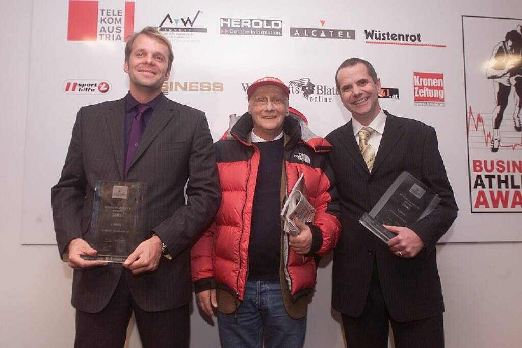 Norbert Teufelberger (bwin), Niki Lauda, Wolfgang Konrad (17.11.2014)