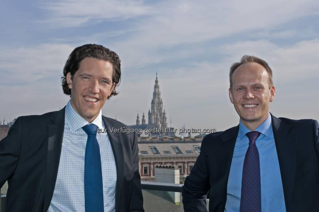"""Mark Valek, Ronald Stöferle: Ihr """"Austrian Economics Golden Opportunities"""" Fonds ist bei den FERI EuroRating Awards 2015 in der Kategorie """"Fund Innovations"""" ausgezeichnet worden. Der Preis stelle einen großen Erfolg für das Fondsmanagement, die Incrementum AG und auch für das junge Thema """"Austrian Investing"""" dar., © Aussendung (26.11.2014)"""
