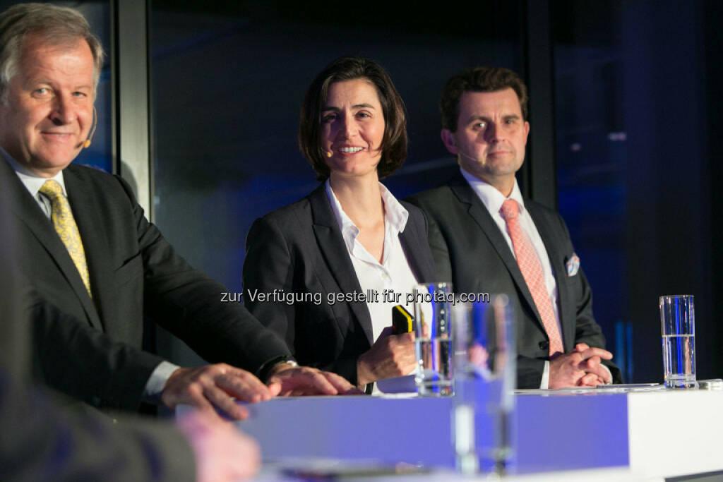 Eduard Zehetner (CEO Immofinanz), Birgit Noggler (CFO Immofinanz), Dietmar Reindl (COO Immofinanz), http://privatanleger.immofinanz.com/, © Martina Draper für Immofinanz (27.11.2014)