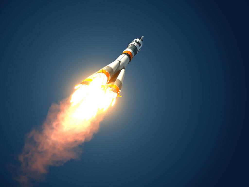 Rakete, Start, abheben, abfliegen, hinauf, Höhe, Sieger, Gewinner, fliegen, http://www.shutterstock.com/de/pic-191556596/stock-photo-carrier-rocket-takes-off-d-scene.html, © www.shutterstock.com (18.03.2018)