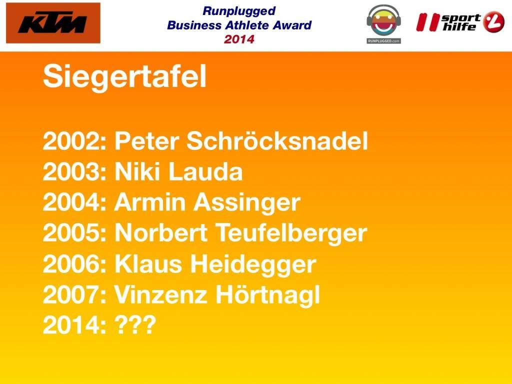 Siegertafel: 2002: Peter Schröcksnadel, 2003: Niki Lauda, 2004: Armin Assinger, 2005: Norbert Teufelberger, 2006: Klaus Heidegger, 2007: Vinzenz Hörtnagl, 2014: ??? (02.12.2014)