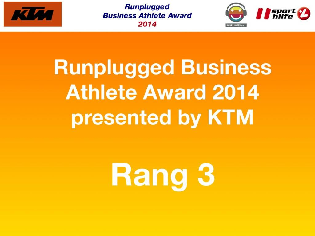 Runplugged Business Athlete Award 2014 presented by KTM Rang 3 (02.12.2014)