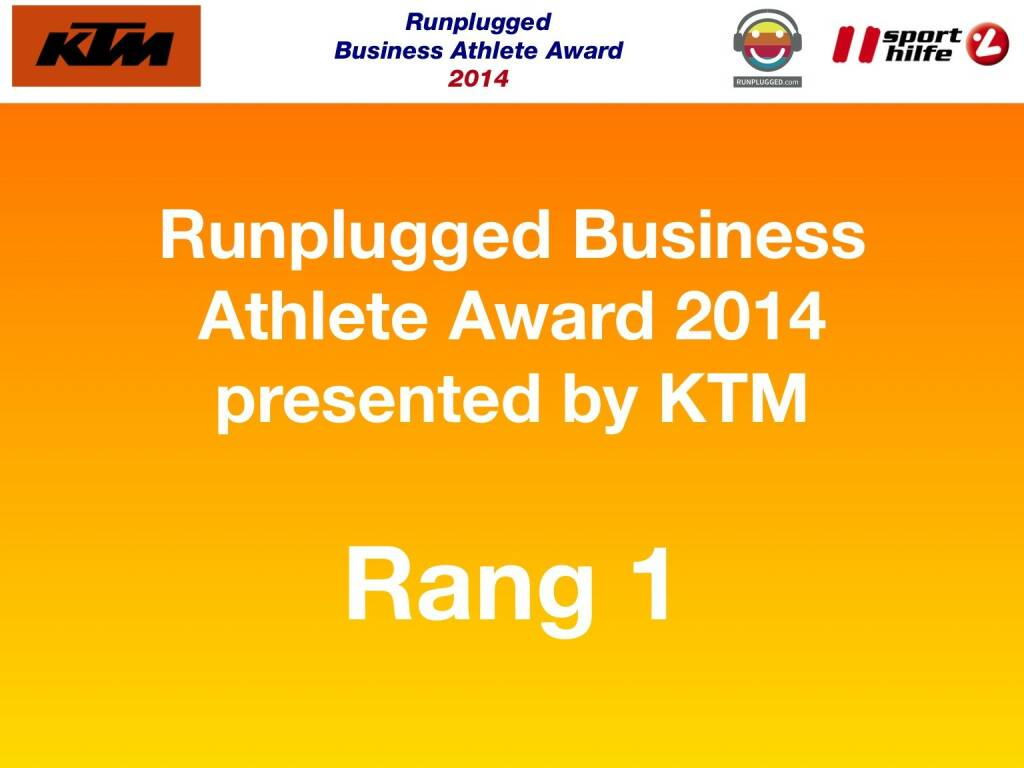 Runplugged Business Athlete Award 2014 presented by KTM Rang 1 (02.12.2014)