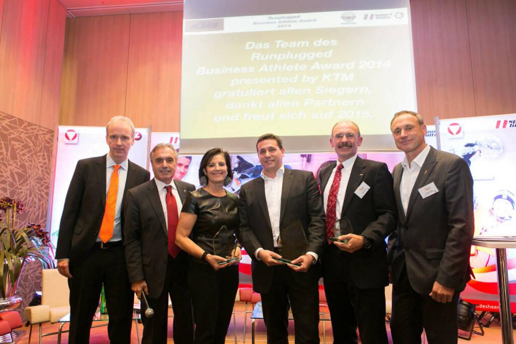 2014: Christian Drastil, Hans Huber, Romy Faisst (Business Circle, Platz 2), Rene Berger (Toto Wolff, Platz 1), Franz Gschiegl (Erste Sparinvest, Platz 3), Toni Schutti (Österreichische Sporthilfe) (03.12.2014)