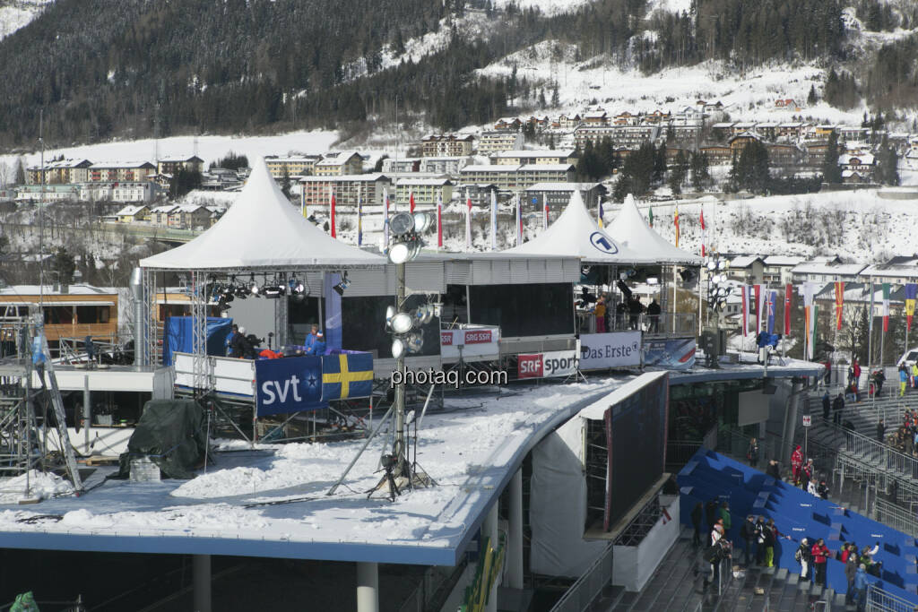 Kommentatorenkabinen, Alpine Ski WM 2013, Schladming, © finanzmarktfoto.at/Martina Draper (09.02.2013)