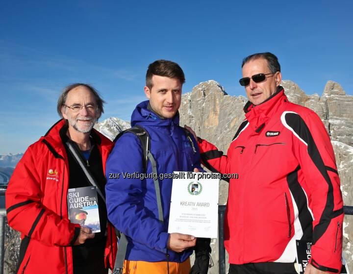 Fred Fettner (Herausgeber Ski Guide Austria), Elias Walser, Tourismusdirektor Ramsau am Dachstein und Günter Fritz (Herausgeber Ski Guide Austria): medianet Verlag AG: Ski Guide Austria 2015