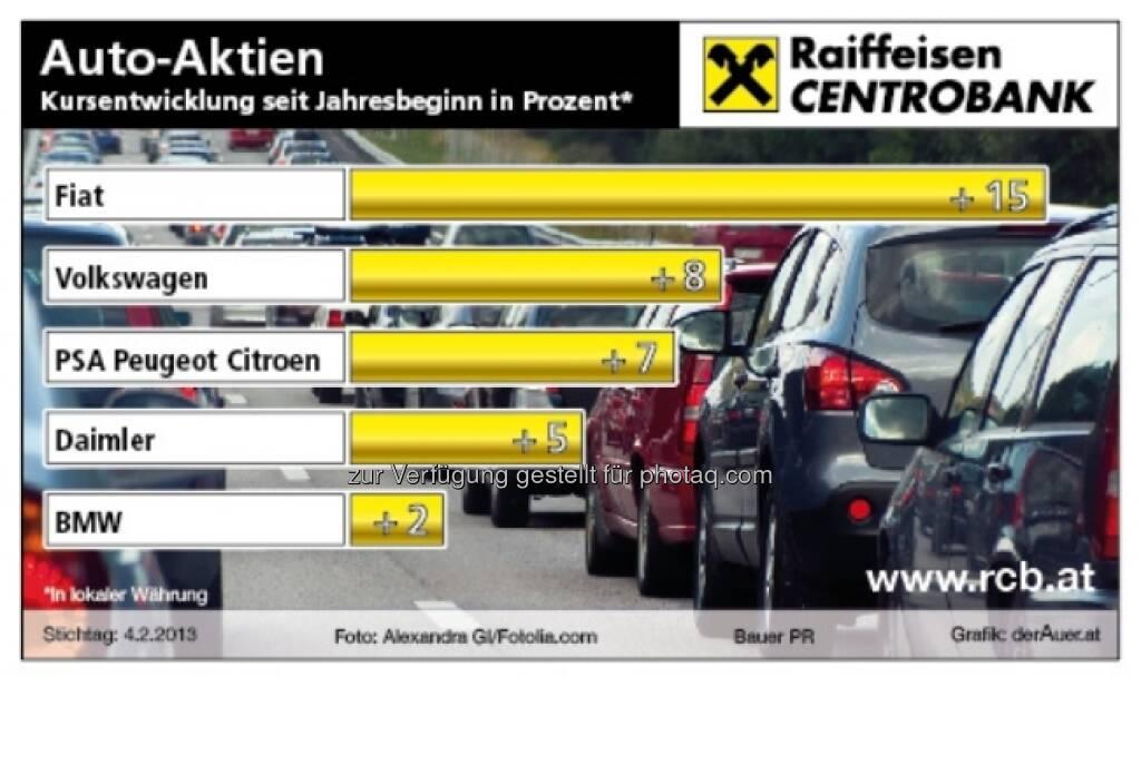 Auto-Aktien - Kursentwicklung 2013 ytd (c) derAuer Grafik Buch Web (09.02.2013)