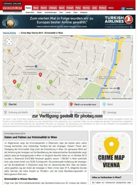 Stadtportal vienna.at wertet über 1.000 Straftaten aus und stellt diese geografisch mit Hintergrundberichten dar. Crime Map Vienna wird künftig monatlich aktualisiert und soll Prävention fördern. http://www.vienna.at/features/crime-map , © Aussender (18.12.2014)