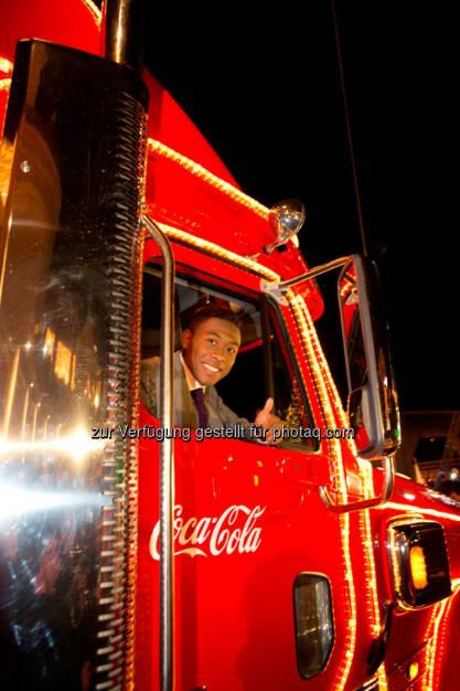 David Alaba im Coca-Cola Weihnachtstruck., © Aussendung (20.12.2014)