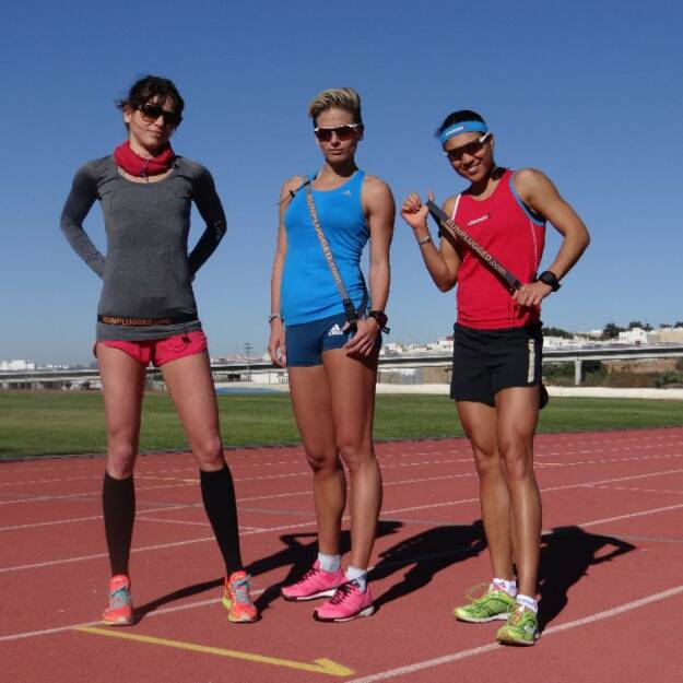 Isabelle Heers, Elisabeth Niedereder and Annabelle Mary Konczer: Tristyle Runplugged Runners auf Trainingscamp in Andalusien (03.01.2015)