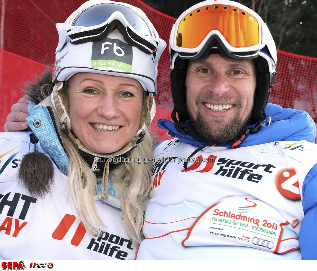 Renate Goetschl und Marco Buechel. Foto: GEPA pictures/ Hans Simonlehner, © GEPA/Sporthilfe (10.02.2013)