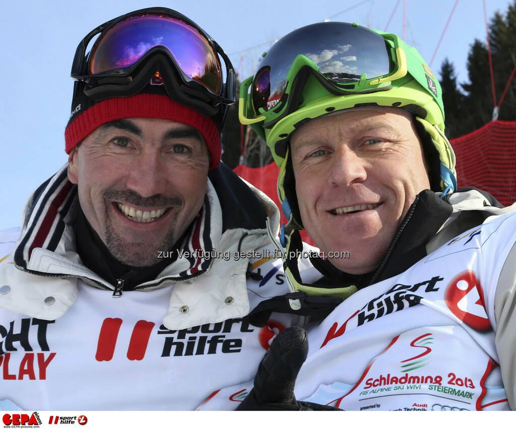 Luc Alphand und Didier Cuche. Foto: GEPA pictures/ Hans Simonlehner, © GEPA/Sporthilfe (10.02.2013)