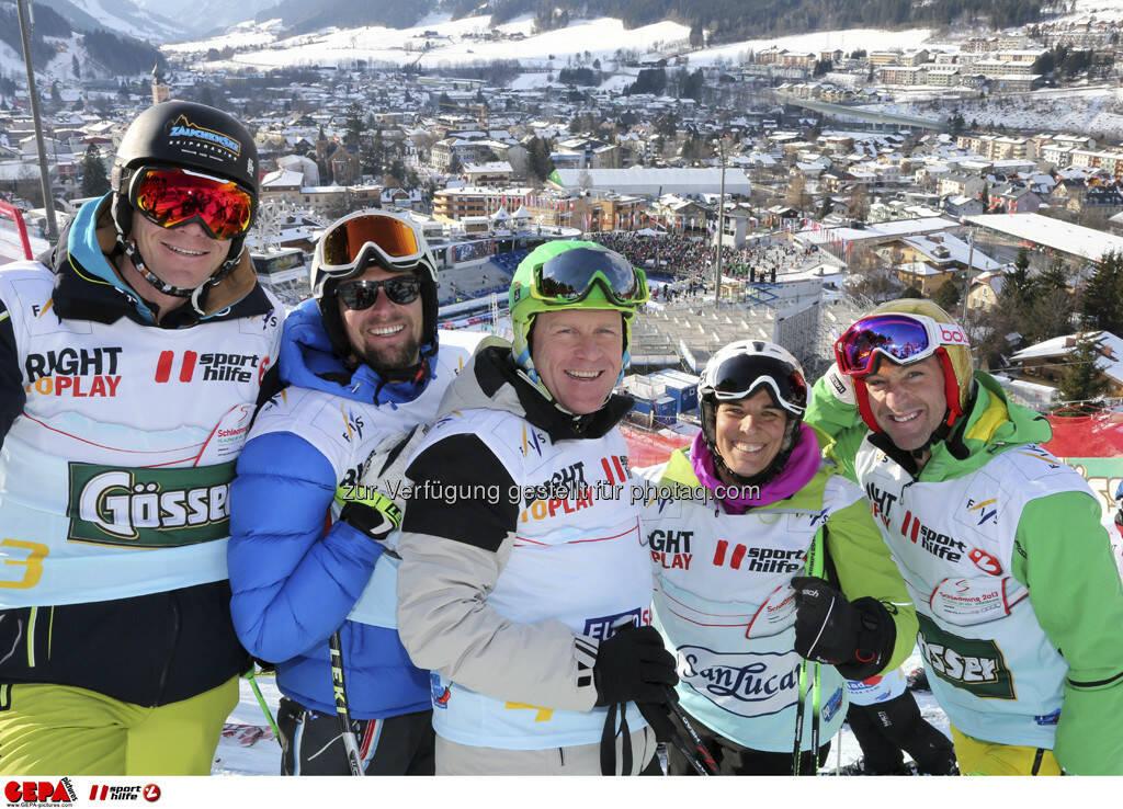 Michael Walchhofer, Marco Buechel, Didier Cuche, Michaela Dorfmeister und Hans Knauss. Foto: GEPA pictures/ Hans Simonlehner, © GEPA/Sporthilfe (10.02.2013)