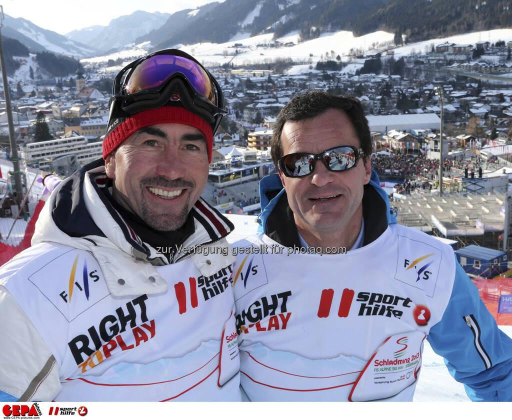 Luc Alphand und Michel Vion. Foto: GEPA pictures/ Hans Simonlehner, © GEPA/Sporthilfe (10.02.2013)