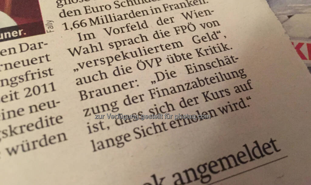 Die Finanzabteilung der Stadt Wien glaubt, dass sich der Euro vs. Schweizer Franken auf lange Sicht wieder erholen wird © Österreich (17.01.2015)