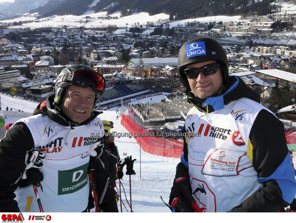 Armin Assinger und Stephan Eberharter. Foto: GEPA pictures/ Hans Simonlehner, © GEPA/Sporthilfe (10.02.2013)