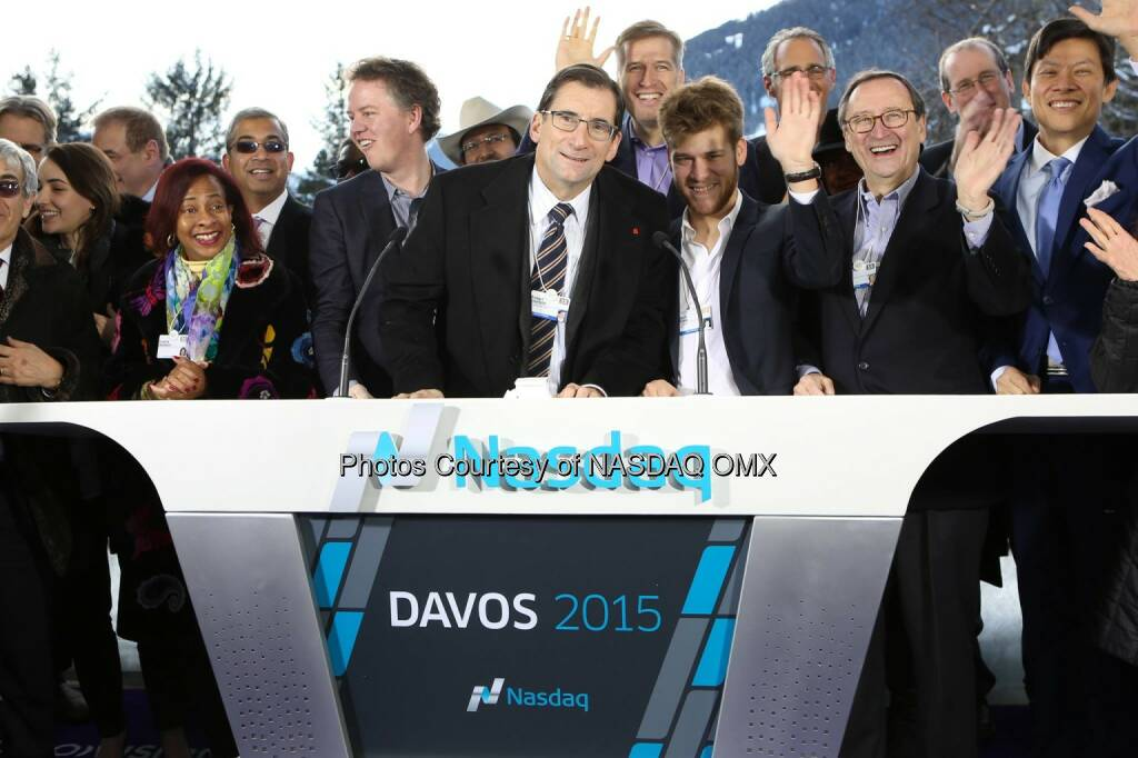 Great photo from the 10th Annual Nasdaq Opening Bell from the World Economic Forum in Davos! #WEF15  Source: http://facebook.com/NASDAQ (23.01.2015)
