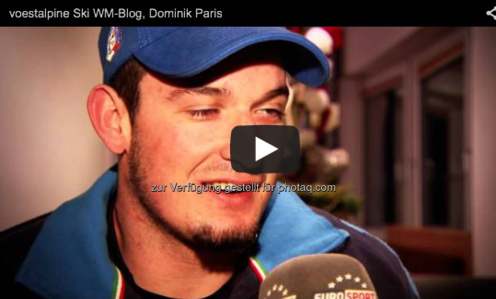 Er ist der Silber-Medaillengewinner der Abfahrt in Schladming und Führender im Abfahrts-Weltcup, Interview mit Dominik Paris  http://voestalpine-wm-blog.at/2013/02/11/interview-mit-dominik-paris/#.URk6JI7aK_Q, &copy; <a href=