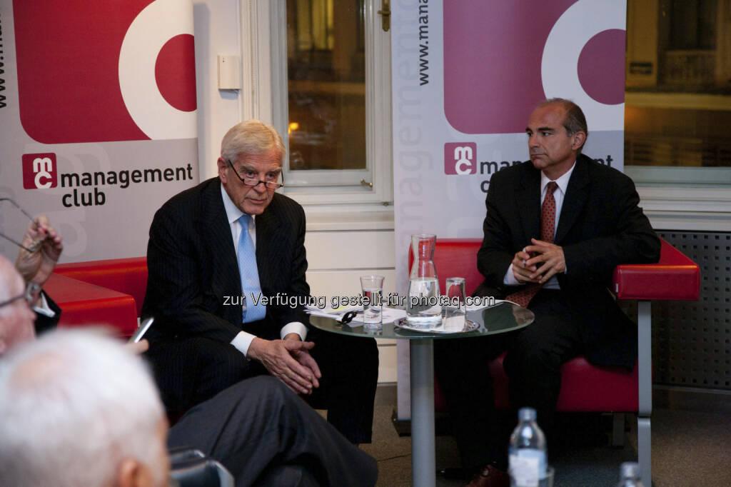 Manfred Kainz: Habe im managementclub eine Publikumsdiskussion mit dem österreichischen Mr. Euro Klaus Liebscher zur Zukunft des Euro moderiert. Vieles dort Gesagtes ist inzwischen eingetroffen (c) managementclub, © beigestellt (12.02.2013)