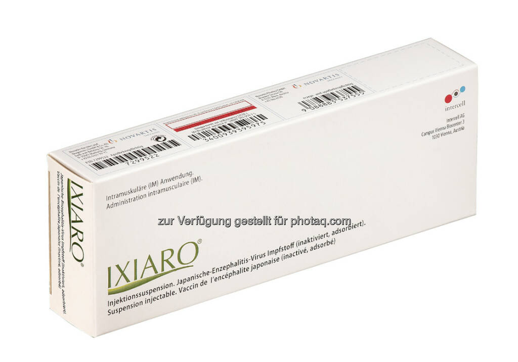 Intercell: Europa-Zulassung des JE-Impfstoffs Ixiaro für Kinder, anbei eine aktuelle Abbildung des Packagings von Ixiaro. Das hier gezeigte Bild enthält die Kinderzulassung noch nicht. Das Produkt für die Anwendung in allen zugelassenen Altersgruppen wird so bald als möglich am Markt eingeführt. Das Produkt, das derzeit in Europa am Markt erhältlich ist, (wie hier abgebildet) kann gemäß der zugelassenen Anwendungsmethode bei Personen ab 3 Jahren verabreicht werden (c) Andi Bruckner für Intercell (12.02.2013)