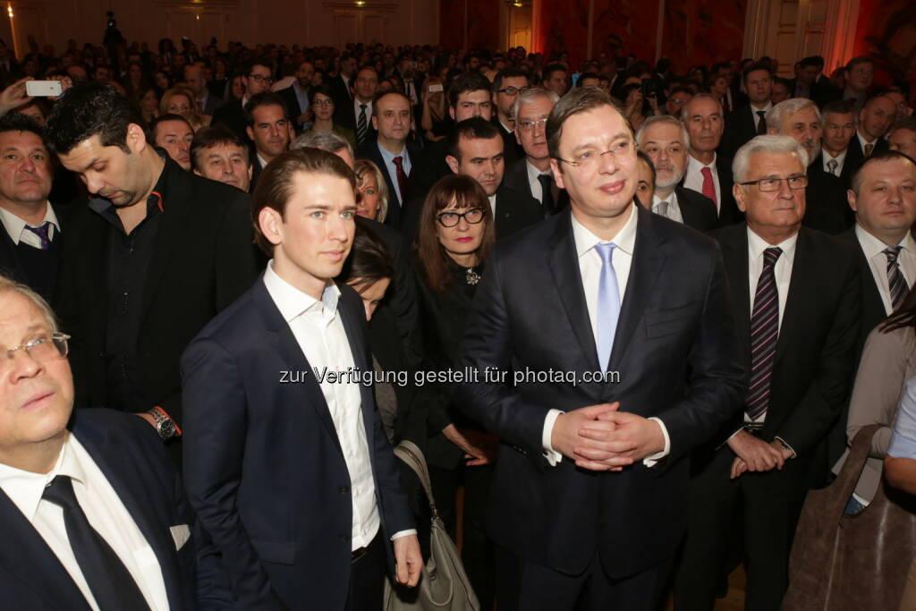 Außenminister Kurz und Serbiens Premierminister Vucic: Magazin Kosmo: Empfang von Serbiens Premierminister Aleksandar Vucic in Wien (30.01.2015)