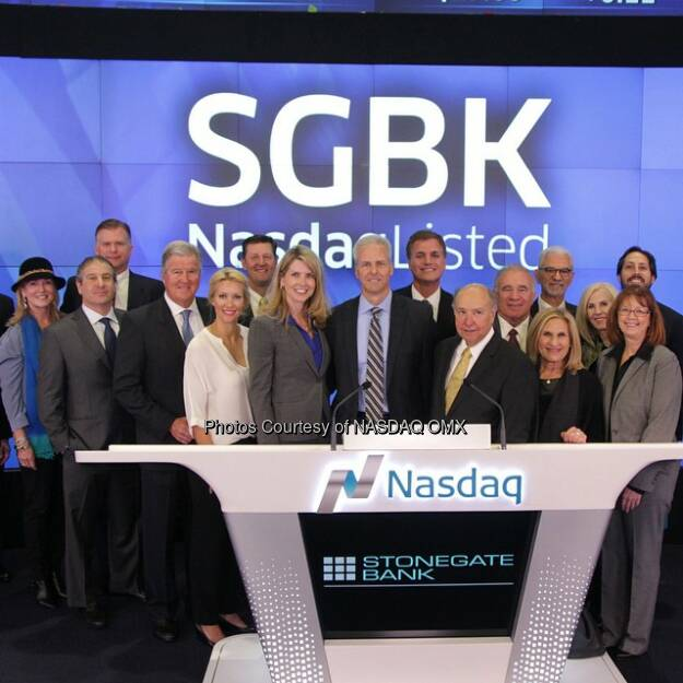 Getting ready for #Stonegate Bank to ring the #Nasdaq Closing Bell! $SGBK #CommunityBank  Source: http://facebook.com/NASDAQ (03.02.2015)