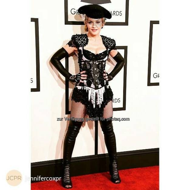 The one and only #Madonna in #Wolford Twenties Tights at the #Grammys. #jennifercoxpr #redcarpet  Source: http://facebook.com/WolfordFashion, © Aussender (09.02.2015)