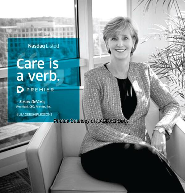 "Care is a verb."" #LeadershipLessons from Susan DeVore, President and CEO of Premier, Inc. $PINC  Source: http://facebook.com/NASDAQ (11.02.2015)"