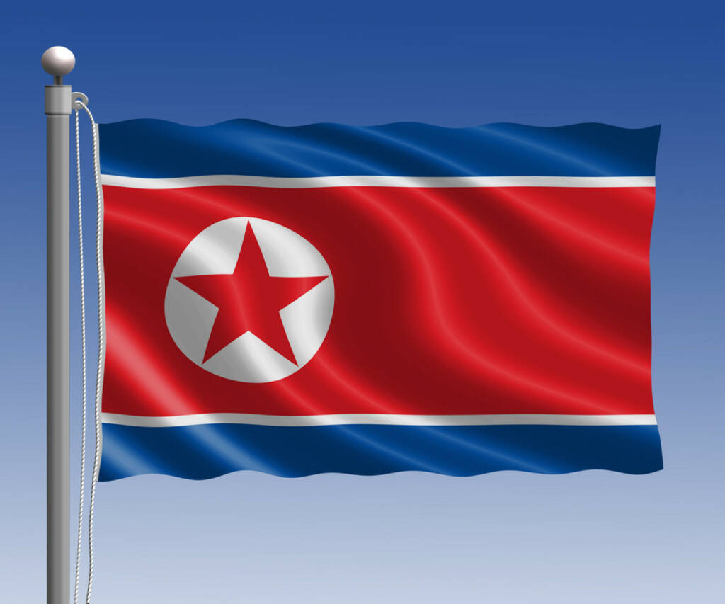 Nordkorea, Flagge, Fahne, http://www.shutterstock.com/de/pic-250805506/stock-photo-north-korea-flag-in-pole-on-blue-sky-background.html, © (www.shutterstock.com) (15.02.2015)