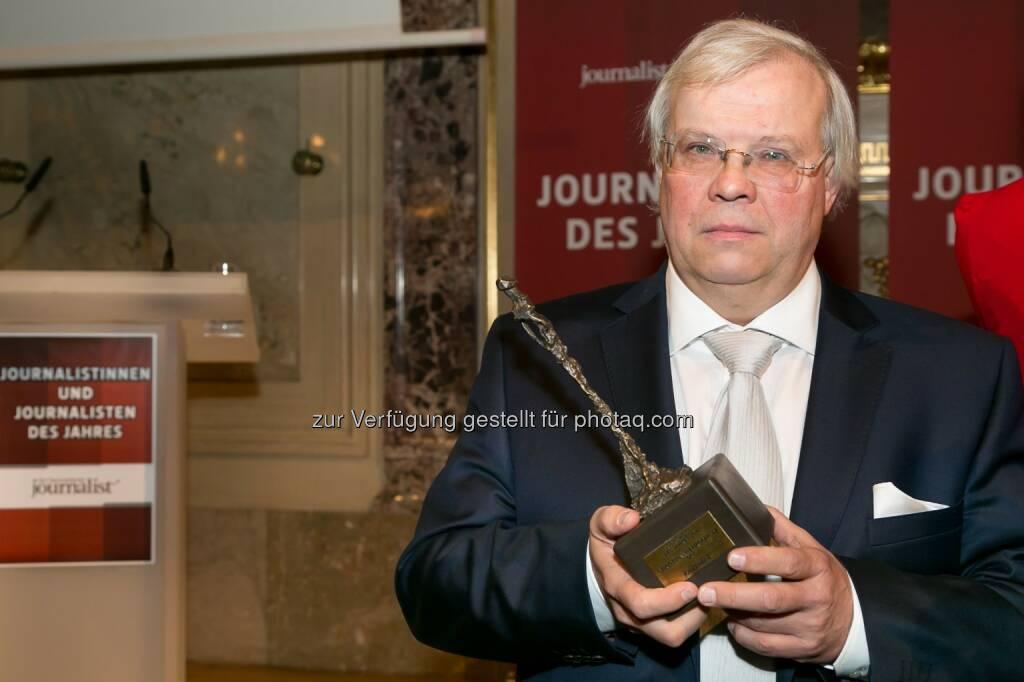 """Christian Wehrschütz (Journalist des Jahres 2014): Medienfachverlag Oberauer: Feier der """"Journalisten des Jahres"""", © Aussendung (16.02.2015)"""