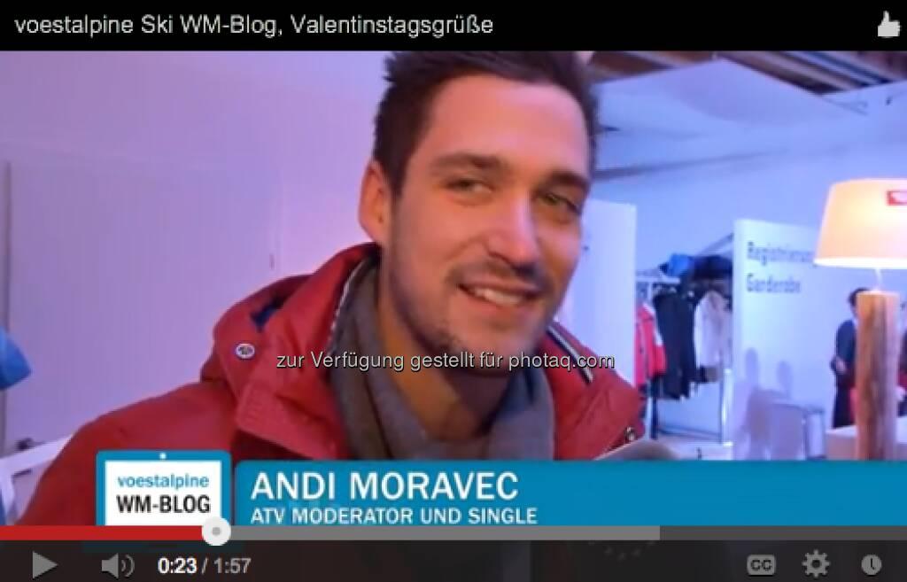 Andi Moravec (ATV) mit Valentinstags-Grüssen http://voestalpine-wm-blog.at/2013/02/14/liebesgefluster-in-schlaming/#.URz8B47aK_Q, &copy; <a href=