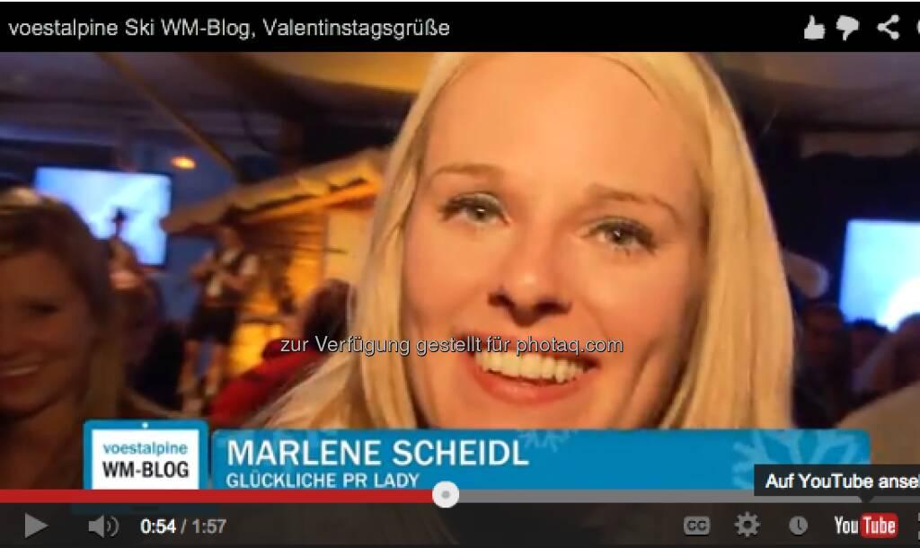 Marlene Scheidl (Ex-Kollegin beim Börse Express) mit Valentinstags-Grüssen http://voestalpine-wm-blog.at/2013/02/14/liebesgefluster-in-schlaming/#.URz8B47aK_Q, &copy; <a href=