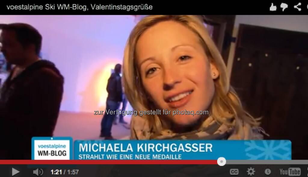Michaela Kirchgasser mit Valentinstags-Grüssen http://voestalpine-wm-blog.at/2013/02/14/liebesgefluster-in-schlaming/#.URz8B47aK_Q, &copy; <a href=