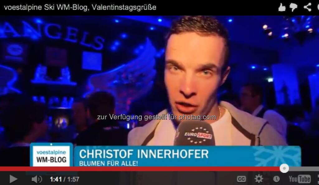 Christof Innerhofer mit Valentinstags-Grüssen http://voestalpine-wm-blog.at/2013/02/14/liebesgefluster-in-schlaming/#.URz8B47aK_Q, &copy; <a href=