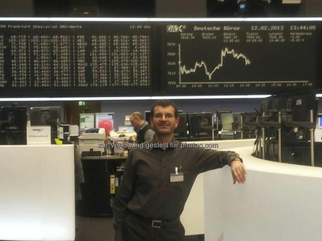 Andreas Wölfl - die Zertifikate der ETI Securities plc sind seit kurzem in Frankfurt notiert - Segment Scoach; deshalb war ich als managing partner des Emittenten eingeladen  (14.02.2013)