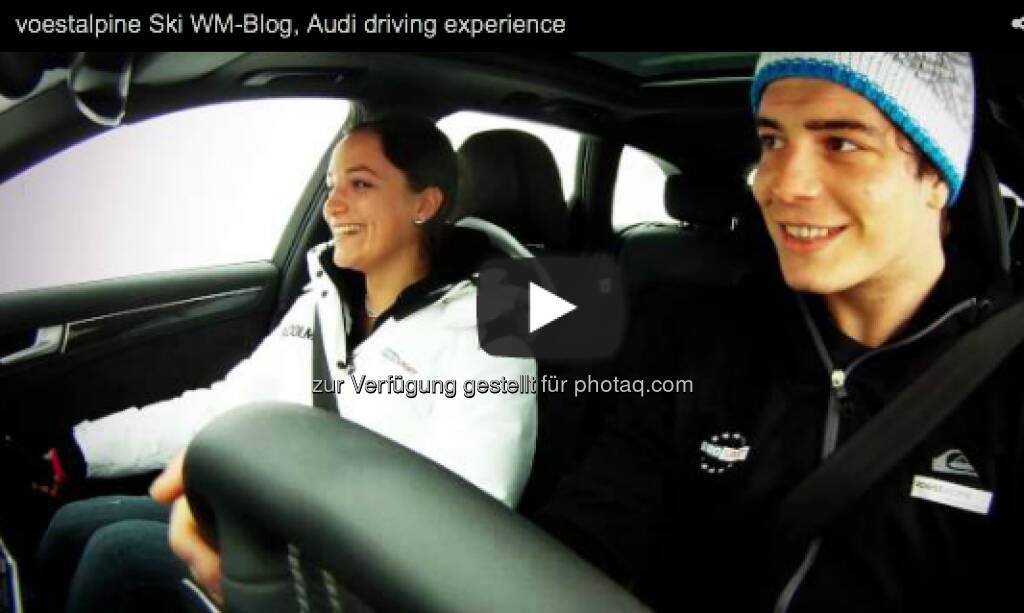 voestalpine-Blogger Johanna Holzer und Markus Kerschbamer im Audi auf Glatteis http://voestalpine-wm-blog.at/2013/02/15/wir-begeben-uns-aufs-glatteis/#.UR5AE47aK_Q, &copy; <a href=