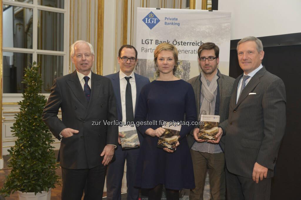 Prinz Philipp von und zu Liechtenstein, Nikolaus Jilch (Platz 3), Eva Steindorfer (Platz 1), Markus Schauta (in Vertretung v. Jakob Armin-Ellissen - Platz 2), Meinhard Platzer (CEO LGT Austria): Preisträger LGT Medienpreis, © Aussendung (25.02.2015)