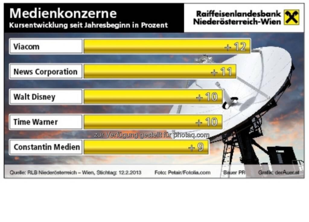 Medienkonzerne an der Börse ytd 2013 (c) derAuer Grafik Buch Web (16.02.2013)
