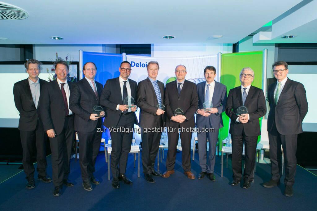 Robert Gillinger (Börse Express), Gerhard Marterbauer (Deloitte), Florian Nowotny (CA Immobilien), Thomas Lessing (Egger), Andreas Dangl (W.E.B. Windenergie), David Davies (OMV), Ernst Vejdovszky (S Immo), Wolfgang Eder (voestalpine), Bernhard Gröhs (Deloitte), © Martina Draper für Börse Express (06.03.2015)